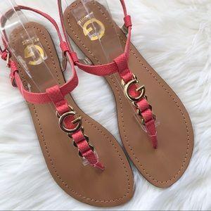 """Women's G by Guess """"Lilac"""" T-Strap Logo Sandal 10"""